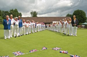 Bowls England and Berkhamsted line-up prior to our Celebration Match on 15 June 2016