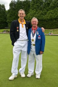 Club President Kevin Clarke with 2016 Bowls England President Michael Jennings.